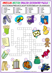 American British English ESL Crossword Puzzle Worksheets