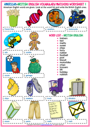 American British English ESL Matching Exercise Worksheets