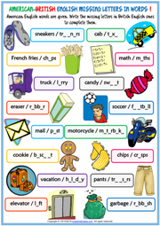 American British English Missing Letters In Words Worksheets