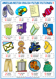 American British English ESL Picture Dictionary Worksheets