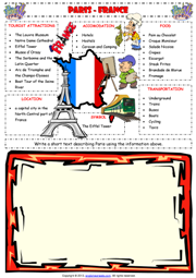 Paris-France Writing Exercise ESL Worksheet