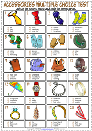 Accessories ESL Printable Multiple Choice Test For Kids