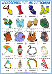Accessories ESL Printable Picture Dictionary Worksheet