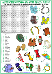Accessories ESL Word Search Puzzle Worksheet For Kids