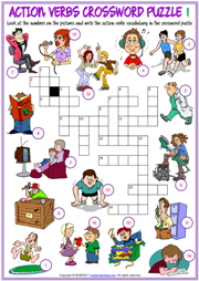 Action Verbs Crossword Puzzle ESL Worksheets for Kids