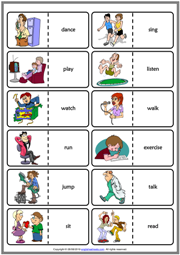 Action Verbs ESL Printable Dominoes Game For Kids