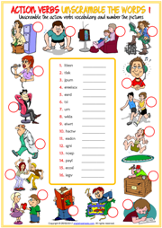 Action Verbs Unscramble the Words ESL Worksheets for Kids