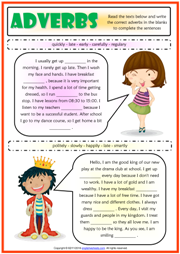 Adverbs Gap Fill ESL Grammar Exercises Test For Kids