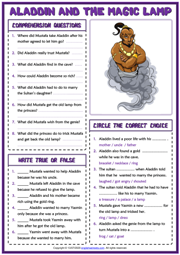 Aladdin and the Magic Lamp ESL Reading Comprehension Questions Worksheet