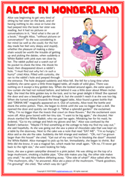 Alice in Woderland ESL Reading Text Worksheet For Kids