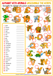 Alphabet with Animals Unscramble the Words ESL Worksheet