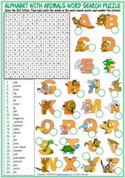 Alphabet with Animals ESL Word Search Puzzle Worksheet