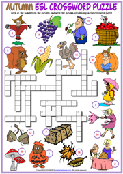 Autumn Crossword Puzzle ESL Printable Worksheet For Kids