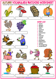 Autumn ESL Vocabulary Matching Exercise Worksheet