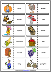 Autumn ESL Printable Dominoes Game For Kids