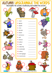Autumn Unscramble the Words ESL Printable Worksheet