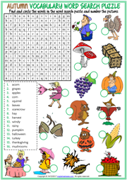 Autumn Word Search Puzzle ESL Printable Worksheet