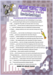 Auxiliary Verbs Have Has Present Perfect Tense Worksheet