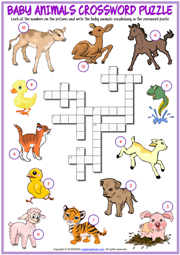 Baby Animals ESL Printable Crossword Puzzle Worksheet