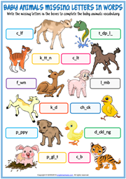 Baby Animals Missing Letters In Words Exercise Worksheet