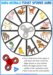 Baby Animals ESL Printable Fidget Spinner Game For Kids