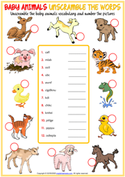 Baby Animals ESL Unscramble the Words Worksheet