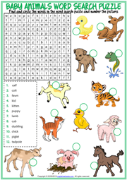Baby Animals ESL Word Search Puzzle Worksheet For Kids