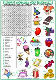 Birthdays ESL Word Search Puzzle Worksheet For Kids