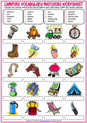 Camping ESL Printable Matching Exercise Worksheet For Kids