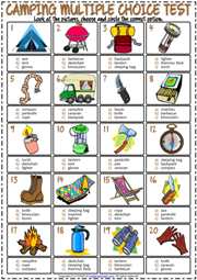 Camping ESL Printable Multiple Choice Test For Kids