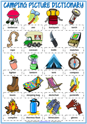 Camping Vocabulary ESL Printable Picture Dictionary For Kids
