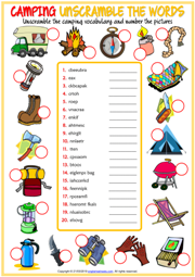 Camping Unscramble the Words ESL Worksheet For Kids