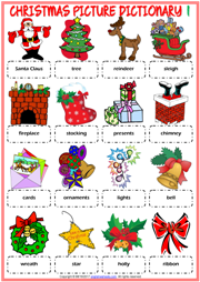 Christmas ESL Printable Picture Dictionary For Kids