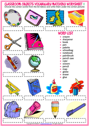 Classroom Objects Vocabulary Matching Exercise Worksheets