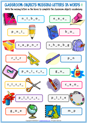 Classroom Objects Missing Letters In Words Exercises For Kids