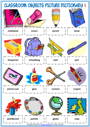 Classroom Objects ESL Printable Picture Dictionary For Kids