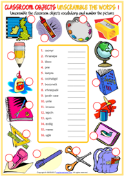 Classroom Objects Unscramble the Words ESL Worksheets