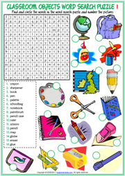 Classroom Objects Word Search Puzzle ESL Worksheets