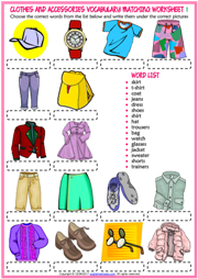 Clothes and Accessories Matching Exercise Worksheets