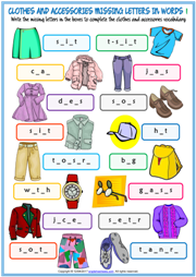 Clothes and Accessories Missing Letters In Words Exercises