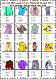 Clothes and Accessories ESL Printable Multiple Choice Tests