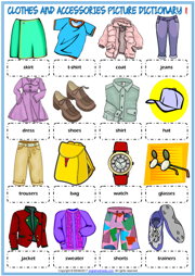 Clothes and Accessories ESL Printable Picture Dictionary
