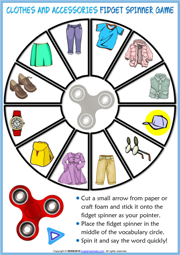 Clothes and Accessories ESL Printable Fidget Spinner Game