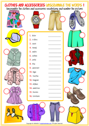 Clothes and Accessories Unscramble the Words Worksheets