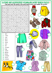 Clothes and Accessories Word Search Puzzle ESL Worksheets