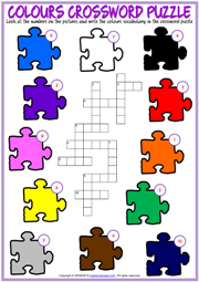 Colours Crossword Puzzle ESL Exercise Worksheet For Kids