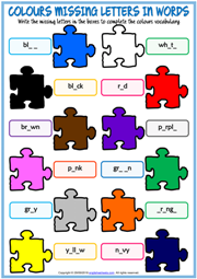 Colours Missing Letters In Words ESL Exercise Handout