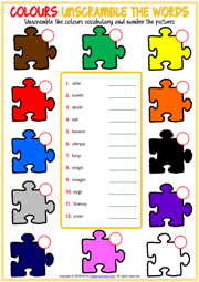 Colours Unscramble the Words ESL Printable Worksheet