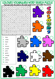 Colours Word Search Puzzle ESL Worksheet For Kids