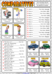 Comparatives ESL Printable Gap Fill Exercises Quiz For Kids